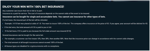 Picture 13. Bet insurance conditions 1xBet