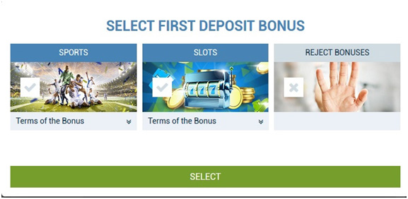 Picture 4. Choosing a welcome bonus 1xBet