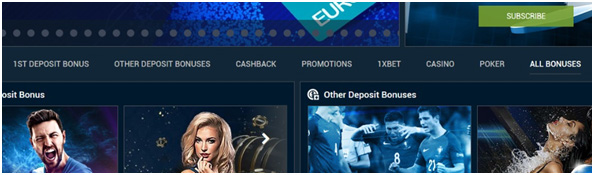 Picture 9. Types of bonuses offered 1xBet