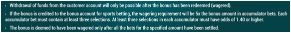 Picture 17. The rules of wagering for sports betting.
