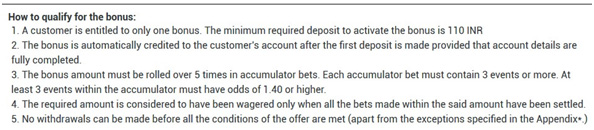 Picture 16. xcerpt from the bonus account wagering rules.