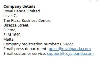 Picture 2. Information about the license is duplicated in the section About Royal Panda.