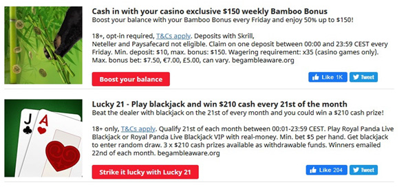 Picture 9. Casino and blackjack special offers.